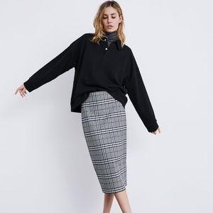 ZARA High waist plaid skirt